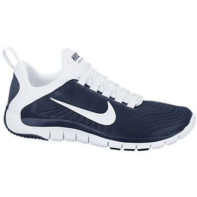 navy blue and white nike free trainer 5.0